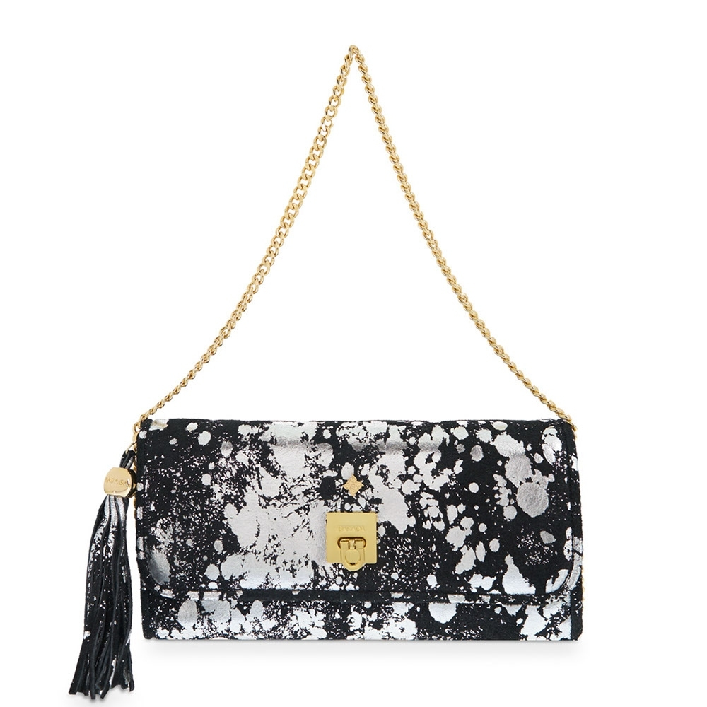 Clutch Handbag from our Fiesta collection in Calf leather and Black-Silver color