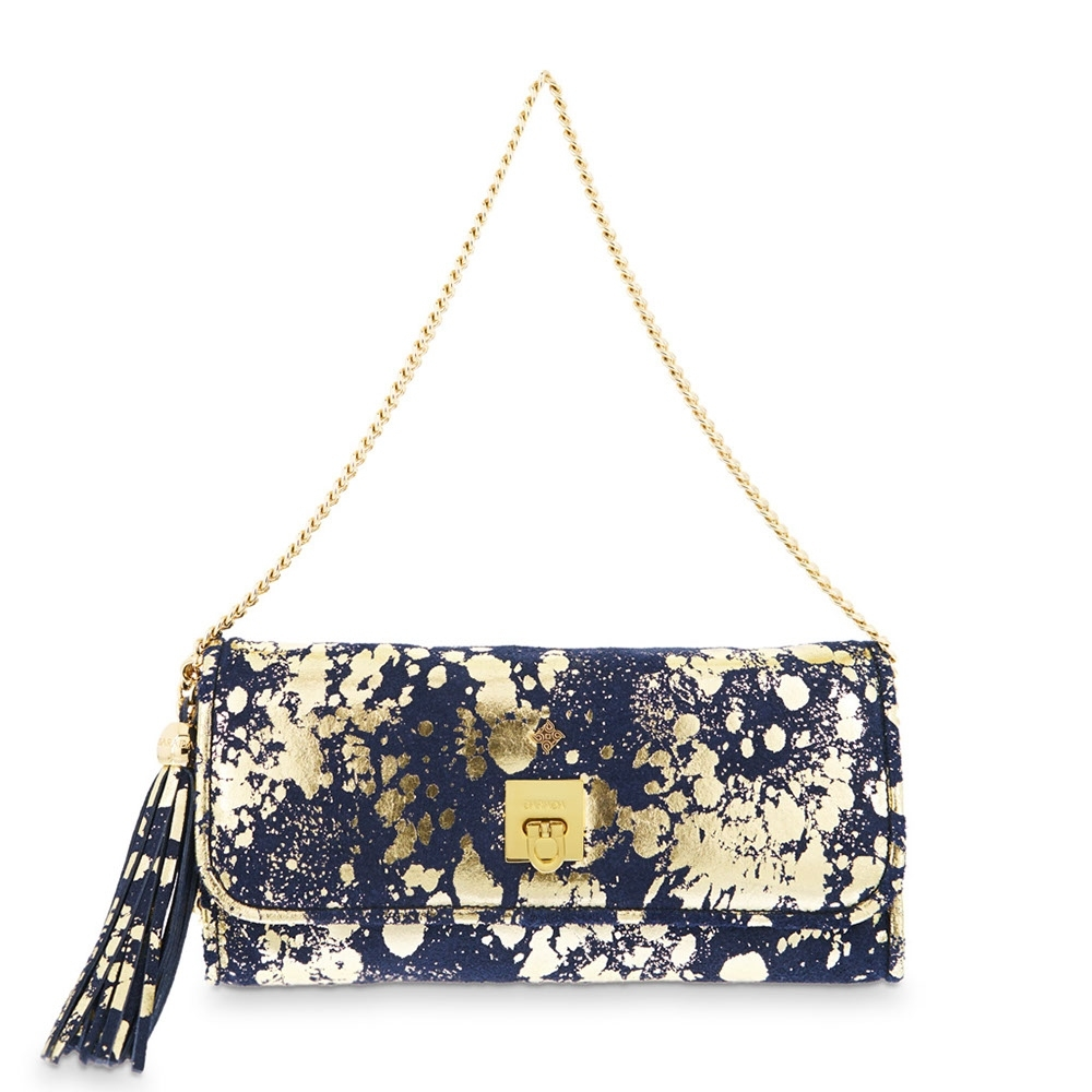 Clutch Handbag from our Fiesta collection in Calf leather and Blue-Gold color