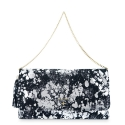 Clutch Handbag from our Amatista collection in Calf leather and Black-Silver color