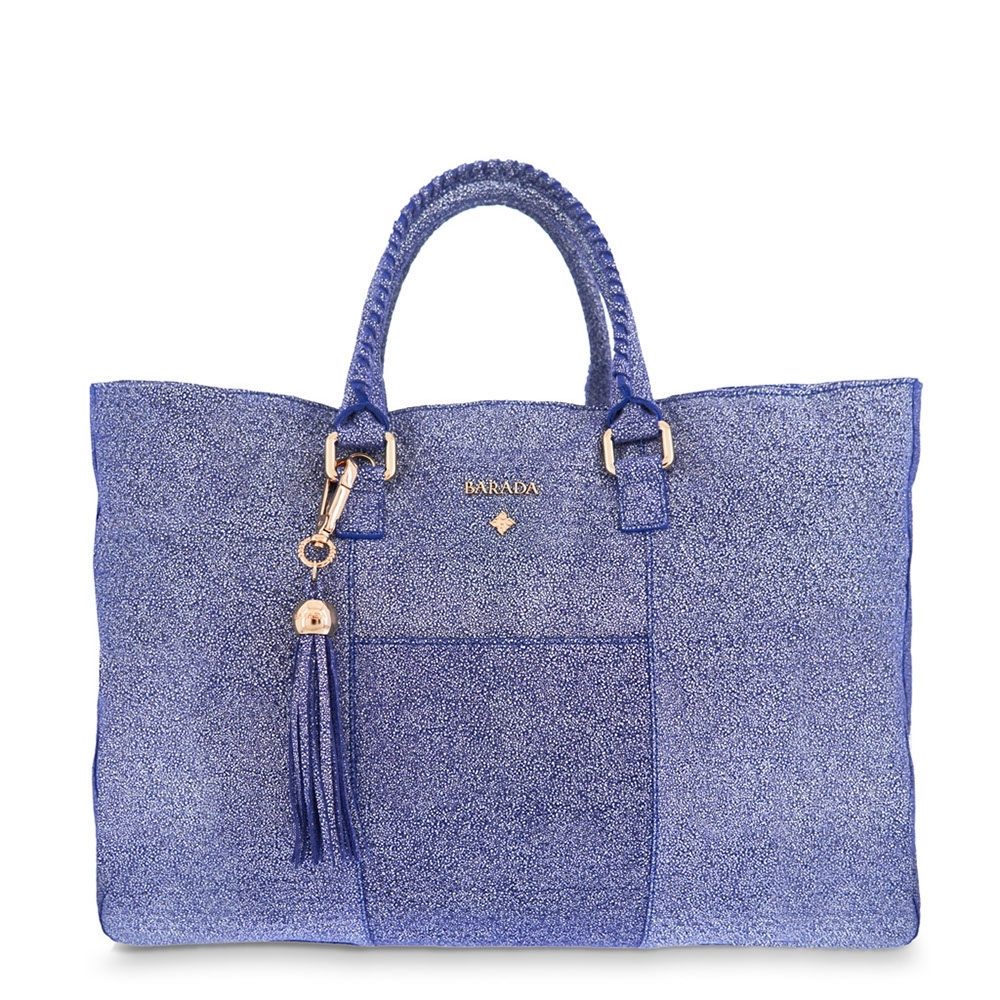 Shopping Handbag from our Moira collection in Calf leather and Blue color