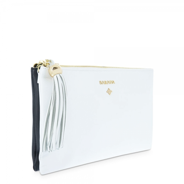 Duo Pouch Crossbody from our Navy collection in Calf leather and Black and White color