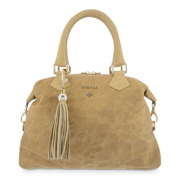 Bowling Bag from our Minerva collection in Lamb skin and Tan color