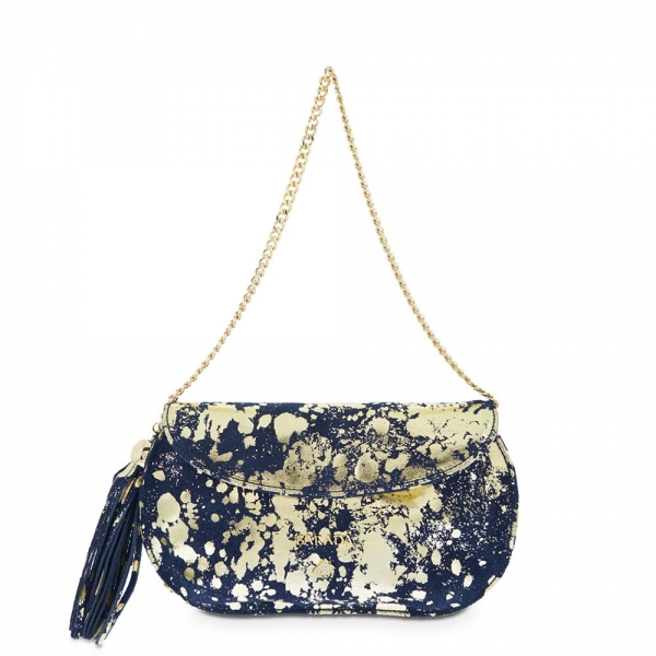 Clutch Handbag from our Lady Rowena collection in Calf leather and Blue-Gold color