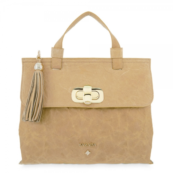 Satchel Handbag from our Dasha collection in Lamb skin and Tan color