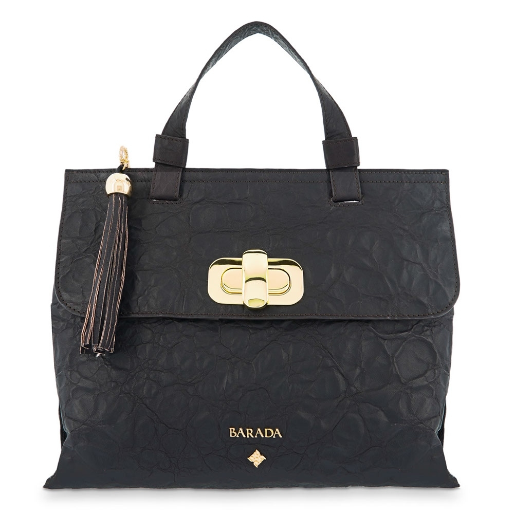 Satchel Handbag from our Dasha collection in Lamb skin and Brown color