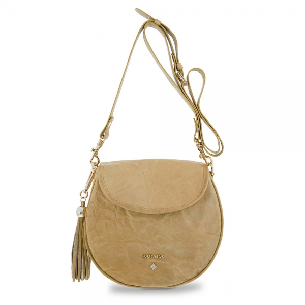 Saddle Bag from our Dasha collection in Lamb skin and Tan color