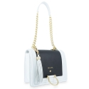 Shoulder Bag from our Navy collection in Calf leather and Black and White color