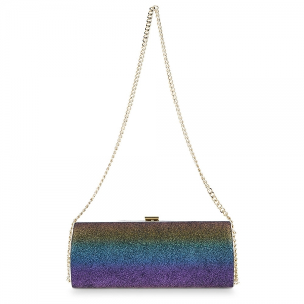 Clutch Handbag from our Ailleen collection in Calf leather and Rainbow color