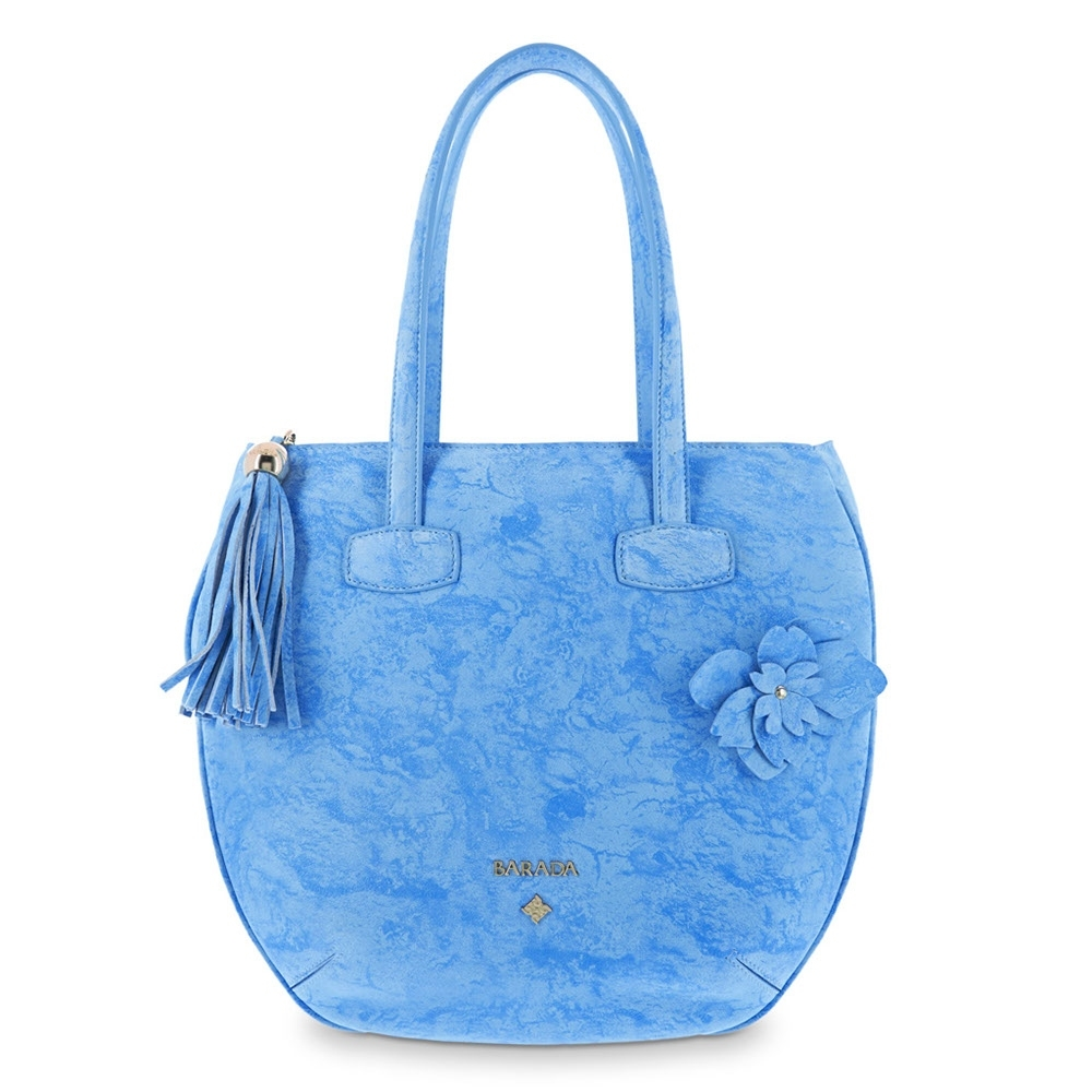 Flat Hobbo Bag from our N03 collection in Calf leather and Blue color