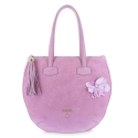 Flat Hobbo Bag from our N03 collection in Calf leather and Pink color