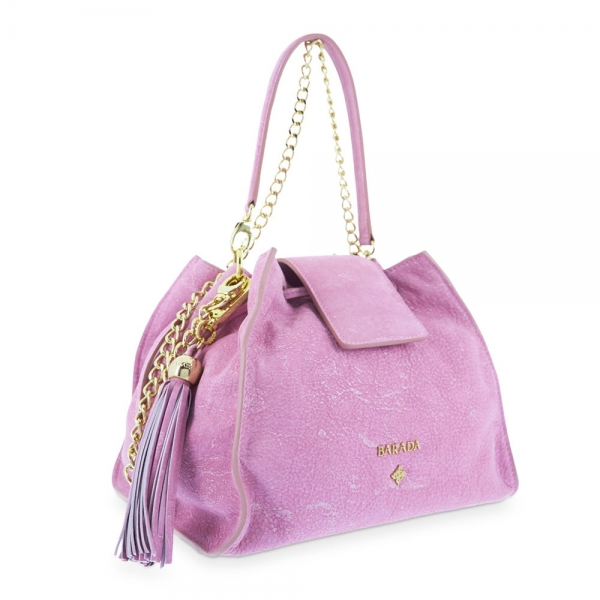Satchel Handbag from our N02 collection in Calf leather and Pink color