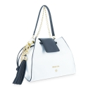Satchel Handbag from our N02 collection in Calf leather and Black and White color