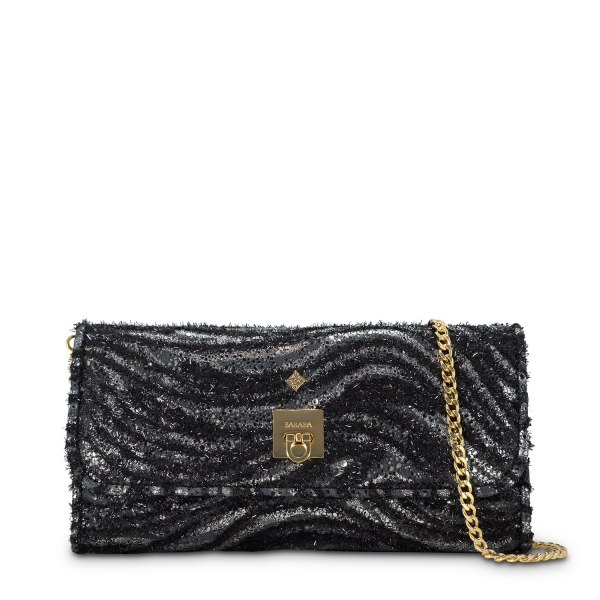 Clutch Handbag from our Fiesta collection in Lamb Skin and Black color