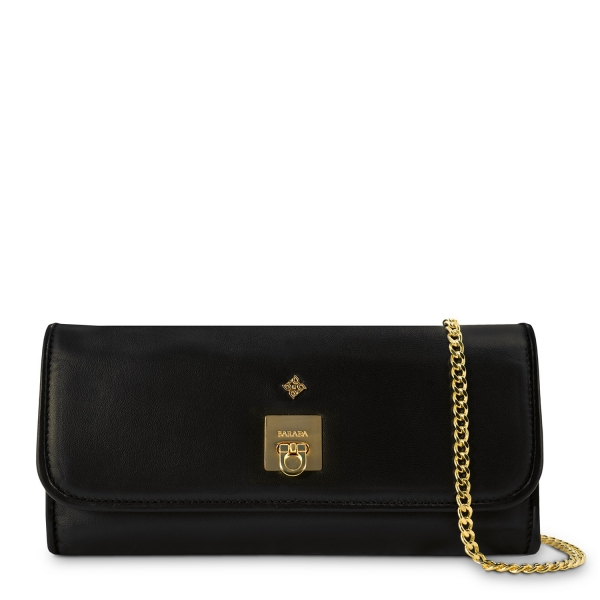 Clutch Handbag from our Fiesta collection in Calf leather and Black color
