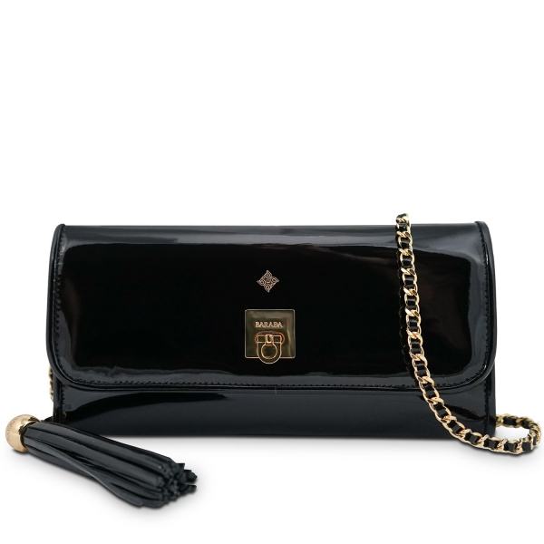 Clutch Handbag from our Fiesta collection in Patent Calf Leather and Black color