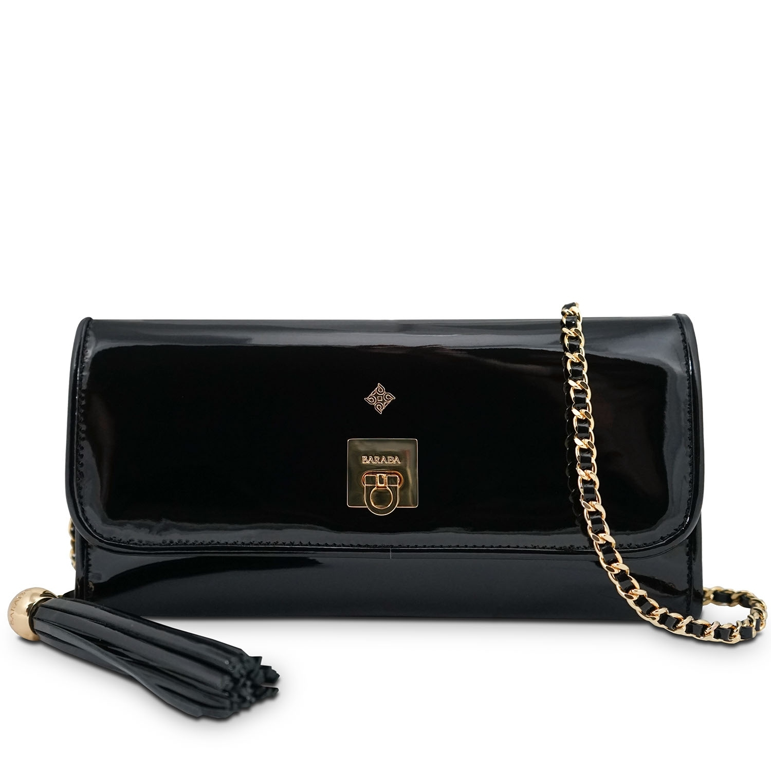 225efd9244 Clutch Handbag from our Fiesta collection in Patent Calf Leather and Black  color
