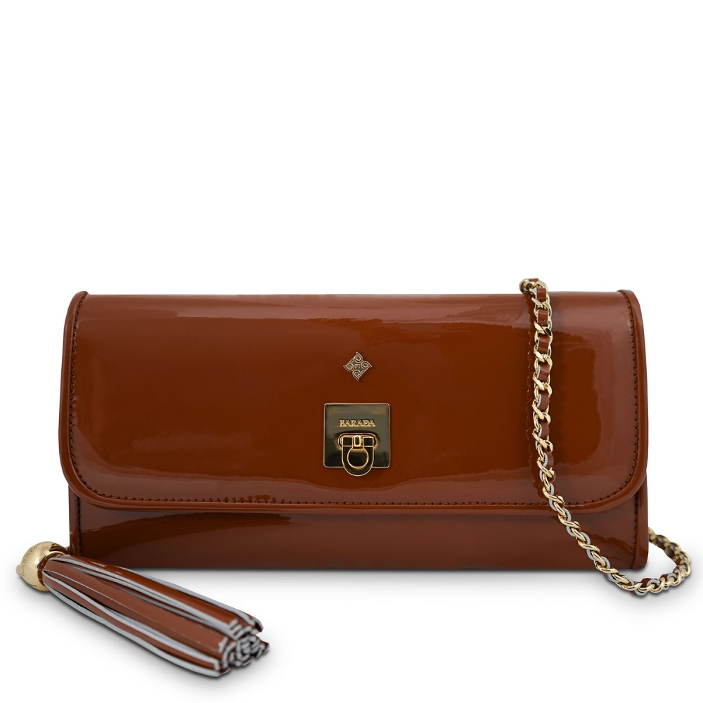 Clutch Handbag from our Fiesta collection in Patent Calf Leather and Brown color