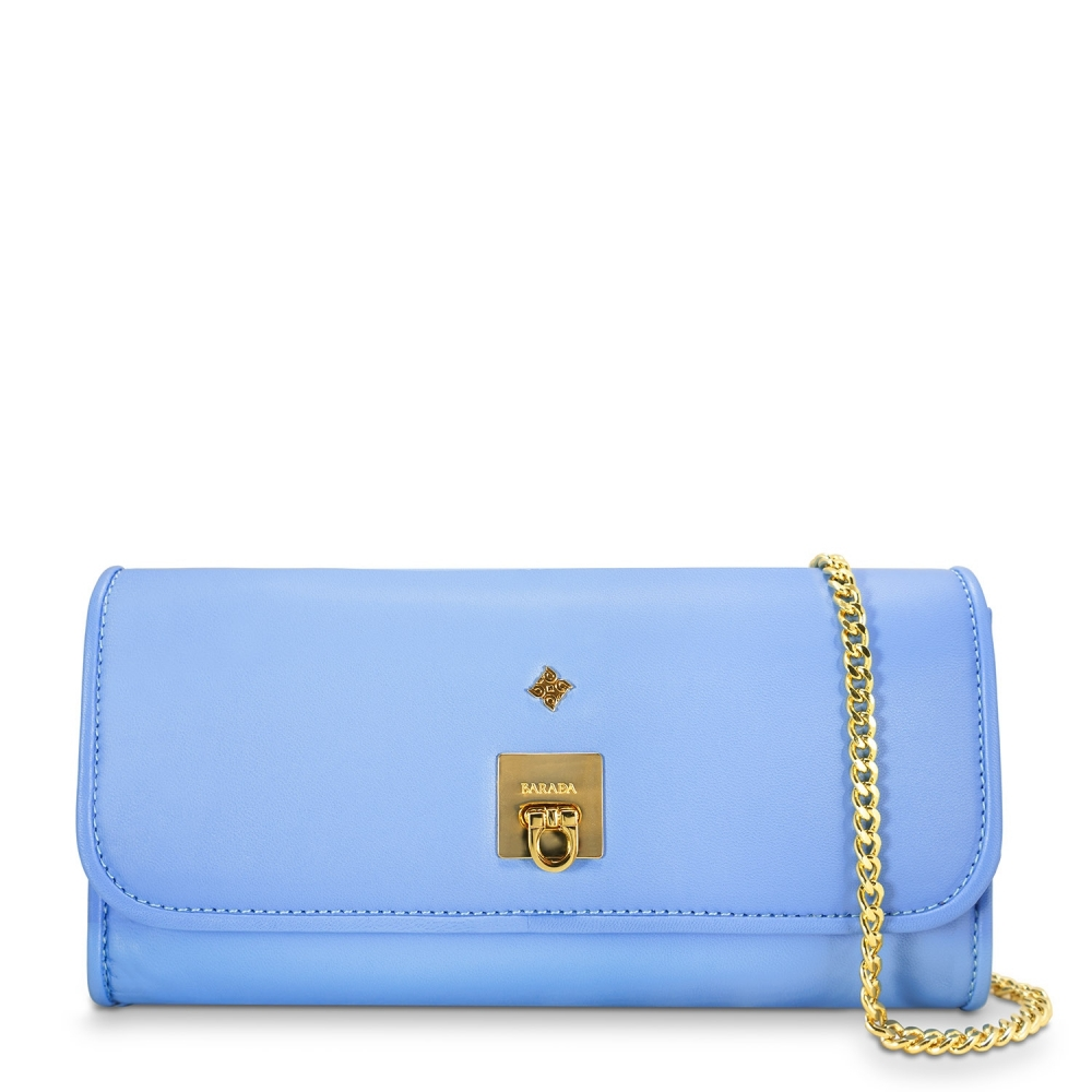 Clutch Handbag from our Fiesta collection in Nappa and Blue color