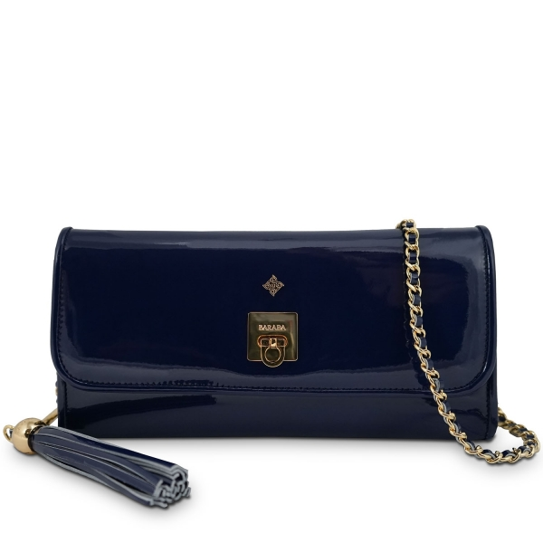 Clutch Handbag from our Fiesta collection in Patent Calf Leather and Dark Blue color