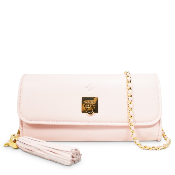 Clutch Handbag from our Fiesta collection in Calf leather and Pink color