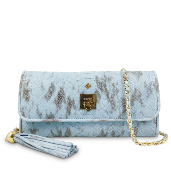 Clutch Handbag from our Fiesta collection in Calf Leather (Snake print)  and Cyan color