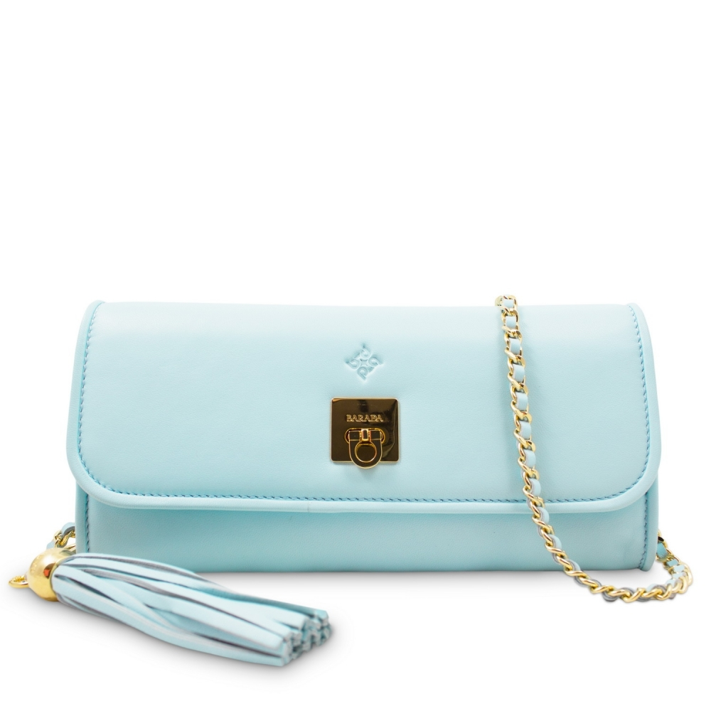Clutch Handbag from our Fiesta collection in Lamb Skin and Cyan color