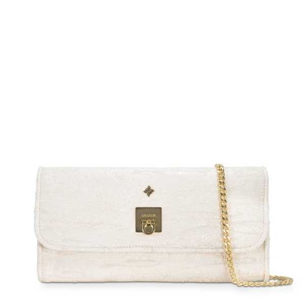 Clutch Handbag from our Fiesta collection in Lamb Skin and Beige color