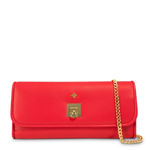 Clutch Handbag from our Fiesta collection in Calf leather and Red color