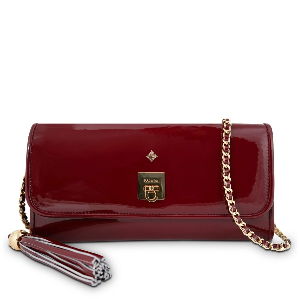 Clutch Handbag from our Fiesta collection in Patent Calf Leather and Red color