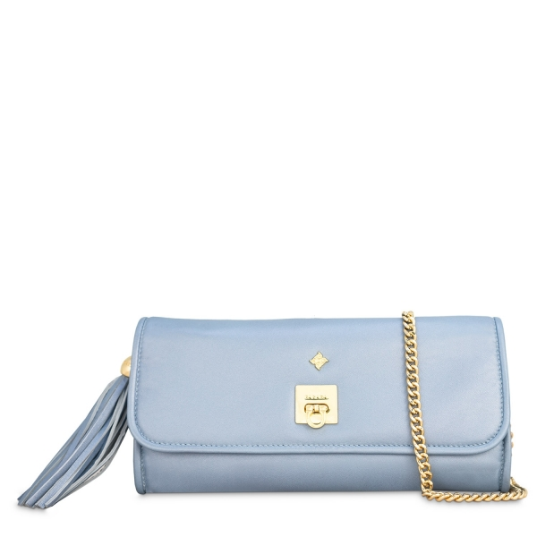 Clutch Handbag from our Fiesta collection in Nappa and Cyan color