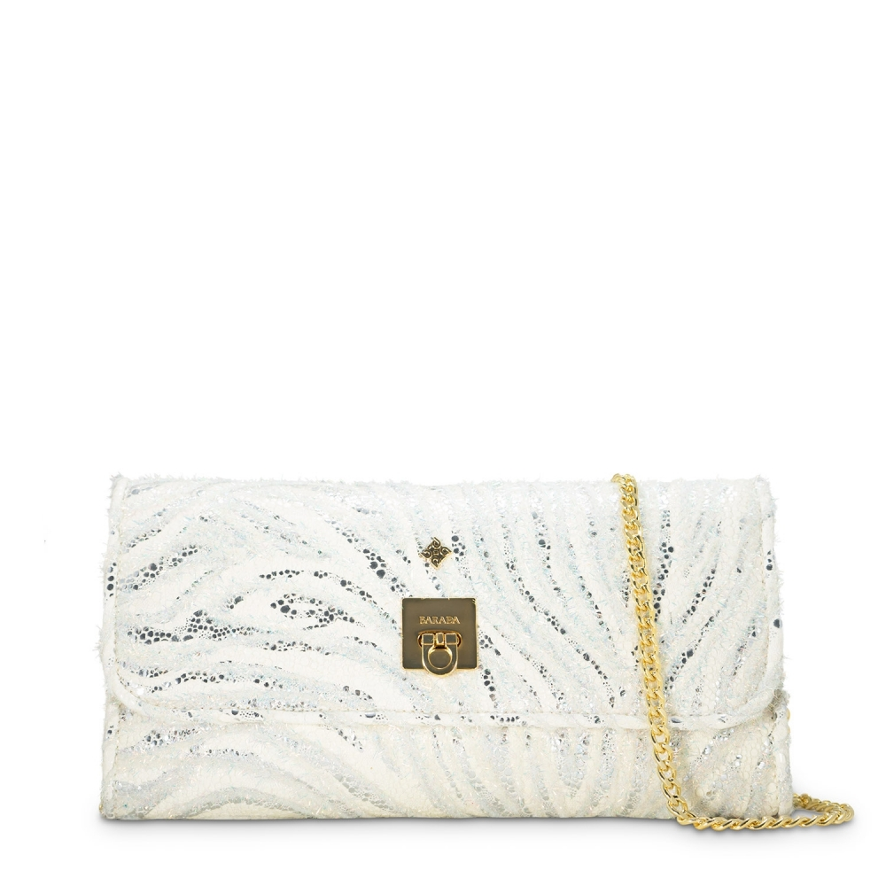 Clutch Handbag from our Fiesta collection in Lamb Skin and White color