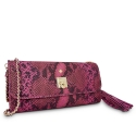 Clutch Handbag from our Fiesta collection in Calf Leather (Snake print) and Pink color