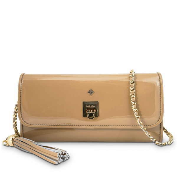 Clutch Handbag from our Fiesta collection in Patent Calf Leather and Nude color