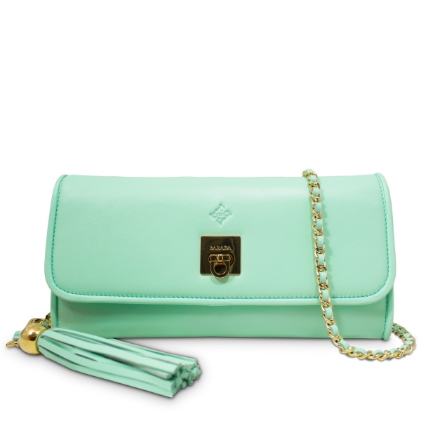 Clutch Handbag from our Fiesta collection in Lamb Skin and Aqua color