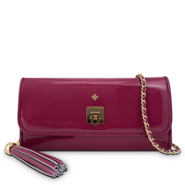 Clutch Handbag from our Fiesta collection in Patent Calf Leather and Viola color