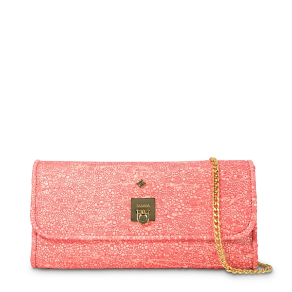 Clutch Handbag from our Fiesta collection in Lamb Skin and Salmon color