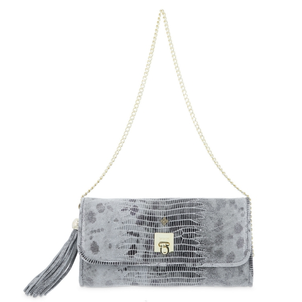 Clutch Handbag from our Fiesta collection in Calf (Tejus print) and Grey color