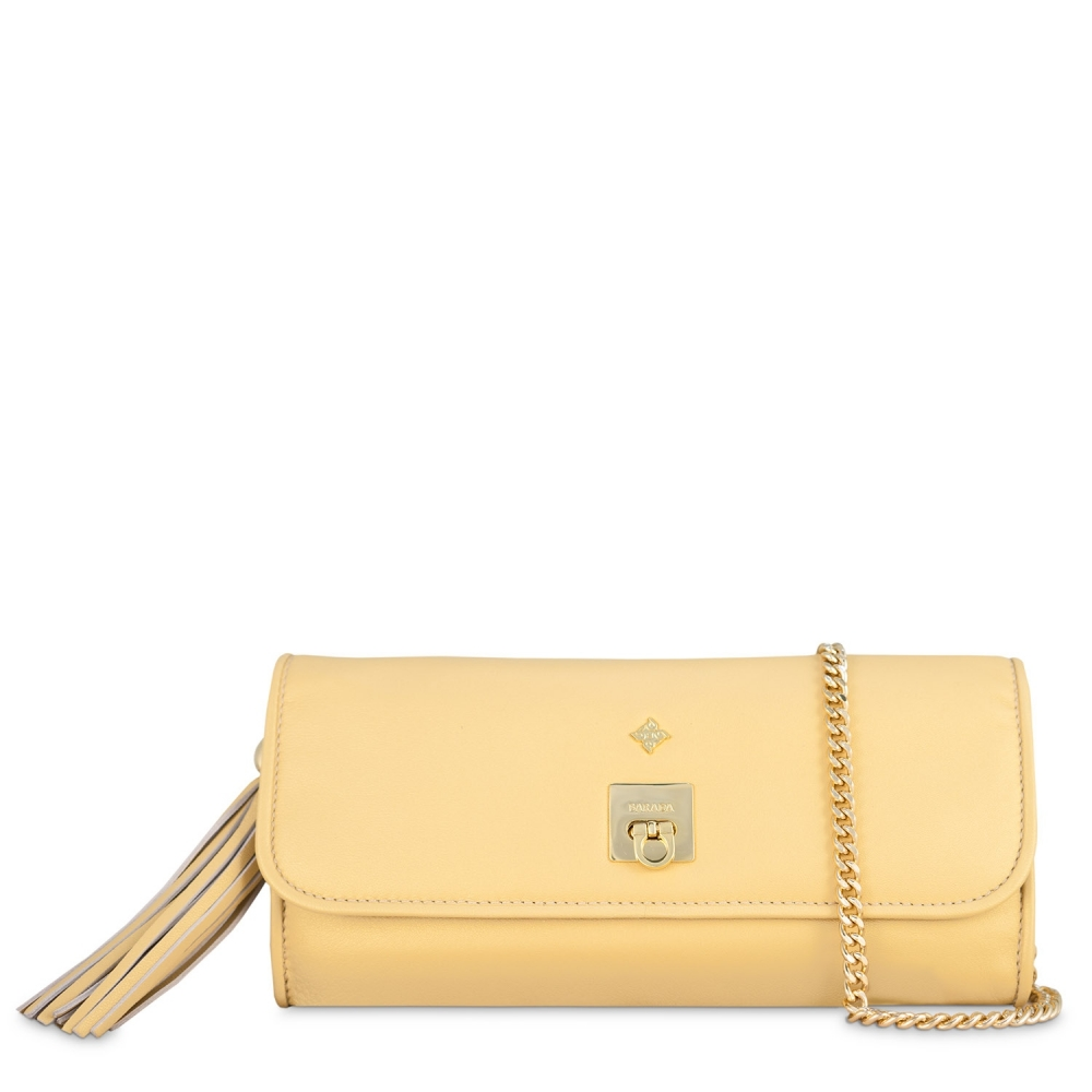 Clutch Handbag from our Fiesta collection in Nappa and Golden color