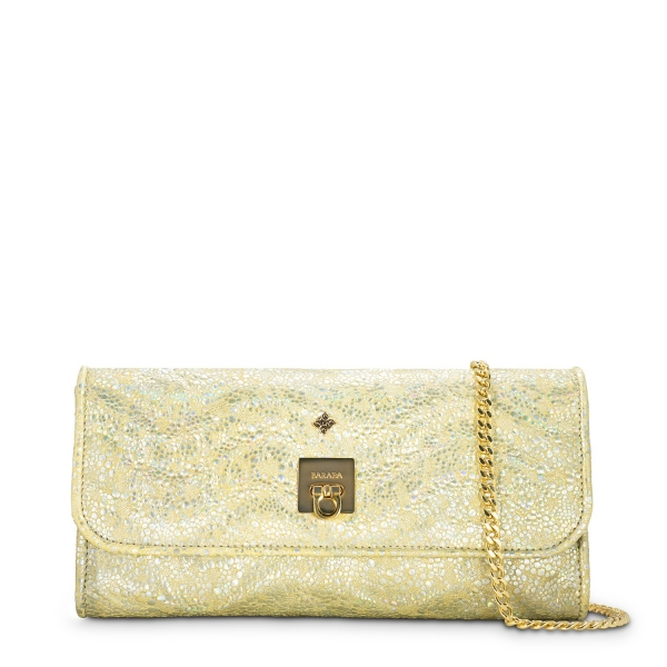 Clutch Handbag from our Fiesta collection in Lamb Skin and Golden color