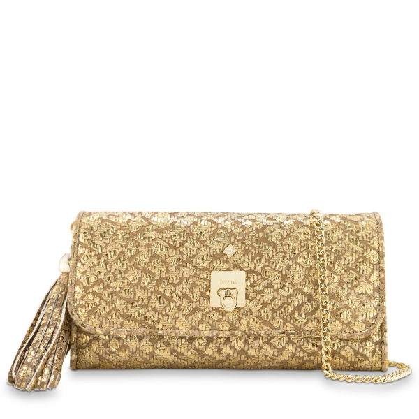 Clutch Handbag from our Fiesta collection in Lamb Skin (fantasy engraved) and Gold color