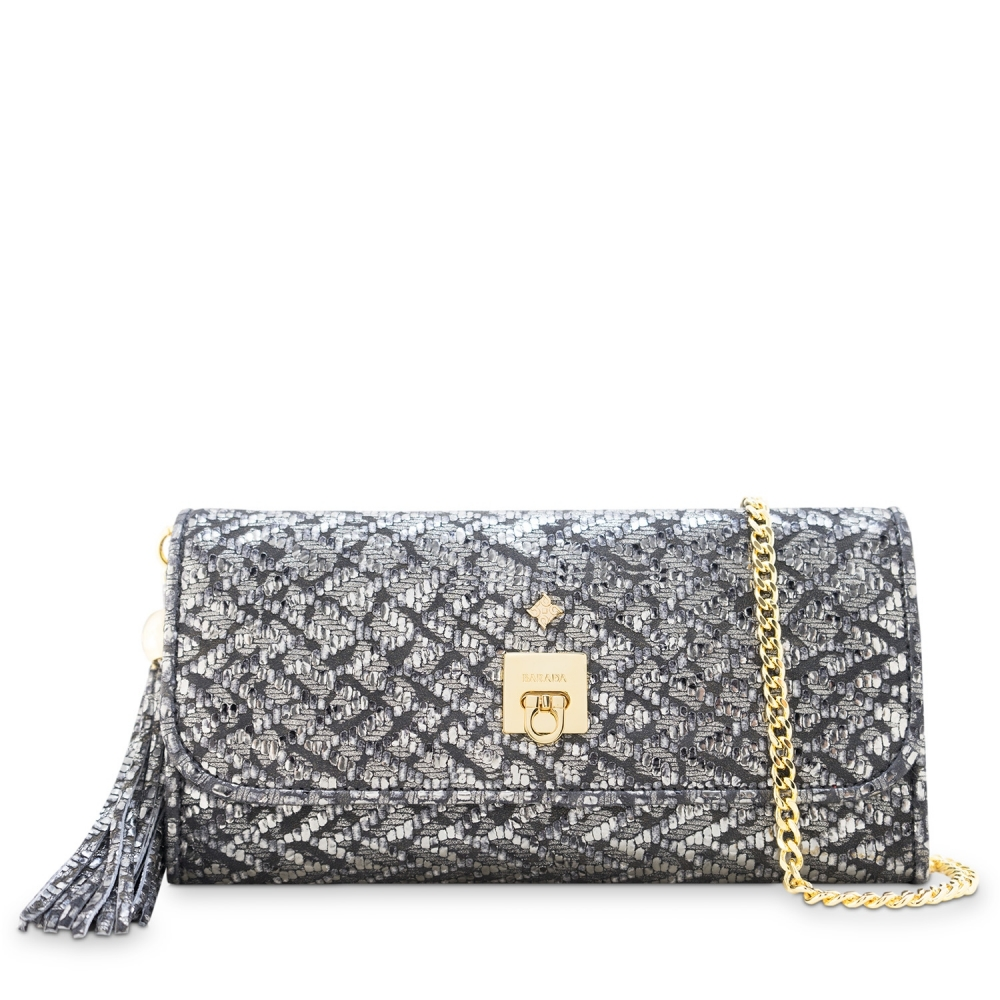Clutch Handbag from our Fiesta collection in Lamb Skin (fantasy engraved) and Plata color