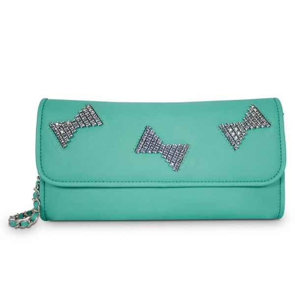 Clutch Handbag from our Fiesta collection in Calf leather and Green color