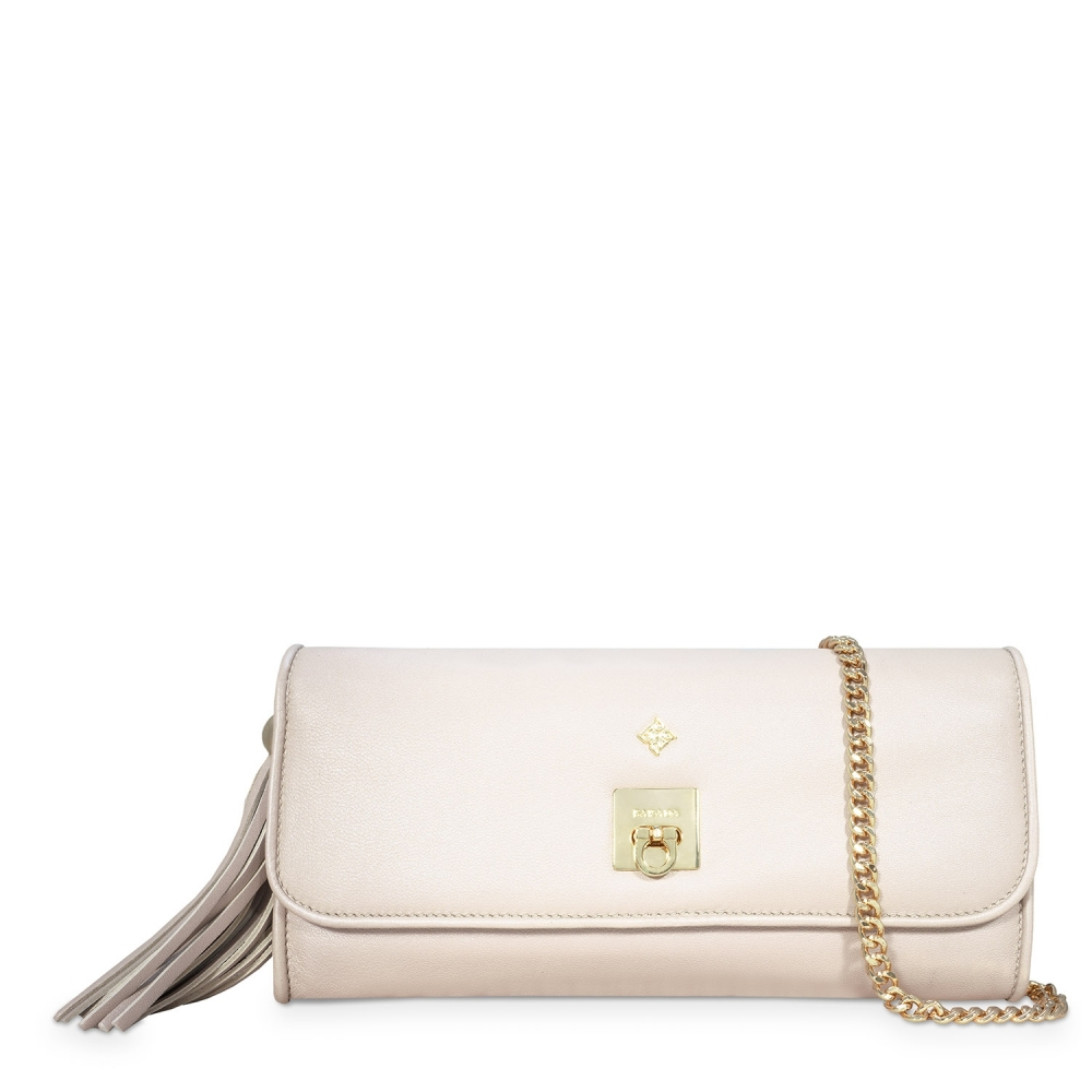 Clutch Handbag from our Fiesta collection in Nappa and Natural Silver color