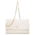 Clutch Handbag from our Amatista collection in Lamb Skin and Beige color