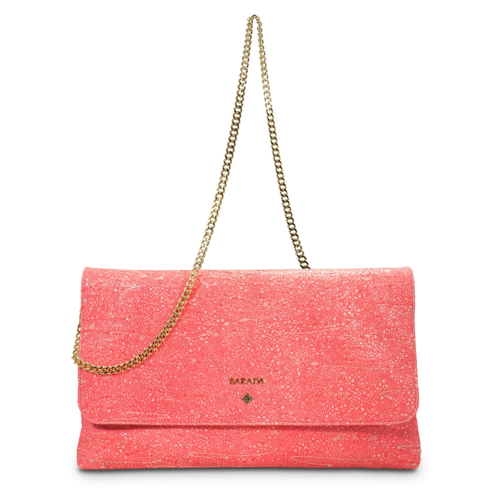 Clutch Handbag from our Amatista collection in Lamb Skin and Salmon color