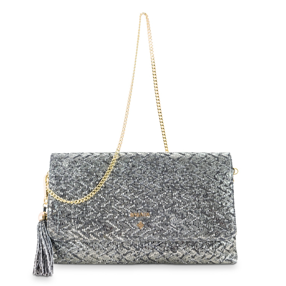 Clutch Handbag from our Amatista collection in Lamb Skin (fantasy engraved) and Plata color