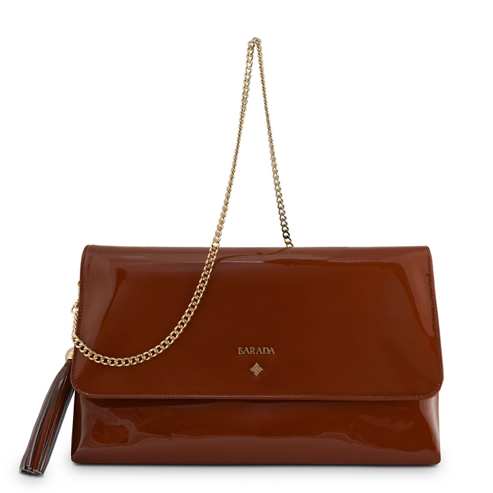 Clutch Handbag from our Amatista collection in Patent Calf Leather and Brown color