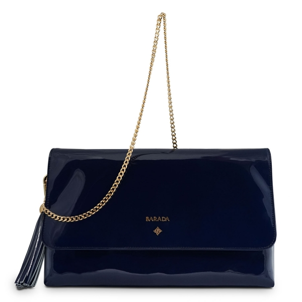 Clutch Handbag from our Amatista collection in Patent Calf Leather and Blue color