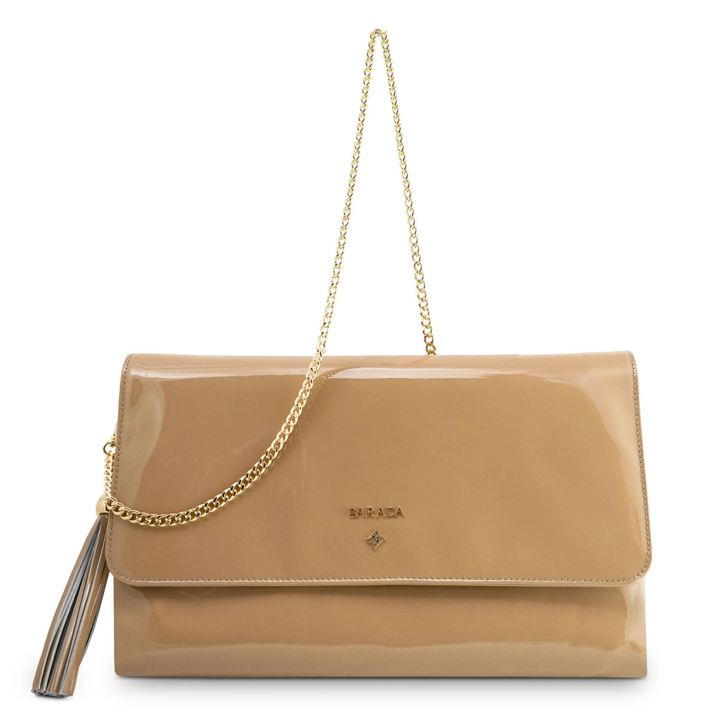 Clutch Handbag from our Amatista collection in Patent Calf Leather and Nude color