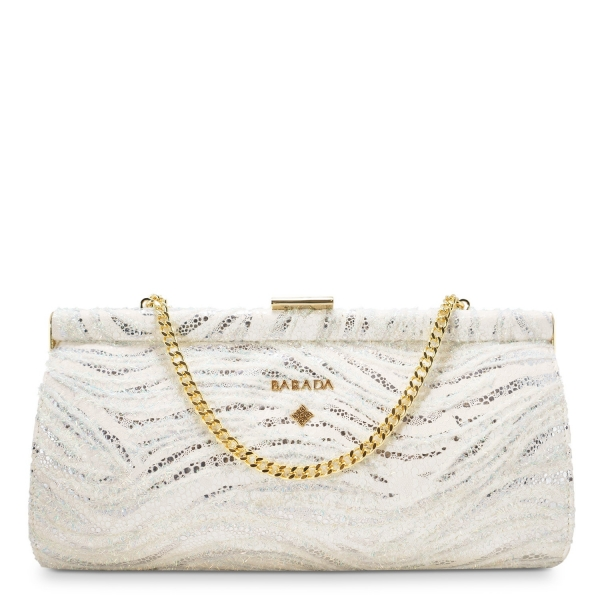 Clutch Handbag from our Amatista collection in Lamb Skin and White color